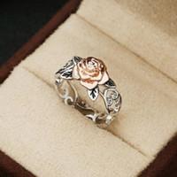 los mejores anillos de plata 925 al por mayor-Exquisito anillo floral de plata de dos tonos 925 14k Flor de oro rosa Fiesta de bodas Compromiso Amantes de la joyería Mejor regalo