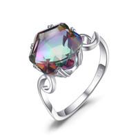 conjuntos de anillos de topacio de fuego al por mayor-Moonstone 3.2ct Genuino Rainbow Fire Mystic Topaz Anillo Sólido 925 Joyas de Plata Conjuntos de anillos Regalos Mujeres fiestas bailes