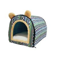köpek yatakları tasarımı toptan satış-Kedi Köpek Küçük Orta Köpek House Rahat Kedi Sıcak Mağara Güzel Bow Tasarımı Köpek Kış Yatak Ev Kennel Fleece Yumuşak Nest