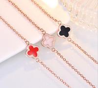 pulsera de encanto de navidad al por mayor-18K oro rosa brazalete pulsera pendientes anillo colgante collar conjunto de lujo trébol encanto joyería encantadora para mujeres regalo de Navidad de San Valentín día