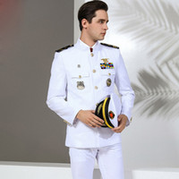 marine militärhut großhandel-Qualität US Standard Navy Uniform Weiße Militärkleidung Herren America Navy Formelle Kleidung Weiße Militäranzüge Hut + Jacke + Hose