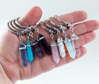 ingrosso amanti della pallottola-Portachiavi a forma di ciondolo di pietra naturale a forma di prisma esagonale, portachiavi, ciondoli di cristallo, portachiavi, accessori moda, gioielli