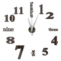 Vintage Digital 3d reloj de pared de cocina de diseño Espejo decorativo  auto-adhesivo del reloj de pared grande en la pared del reloj del reloj  Nueva ...