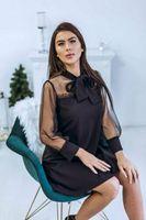 вечернее платье с винтажным рукавом оптовых-Hot Vintage платья женщин 2019 Новая мода A-линия сетки Sheer длинным рукавом платье вечера партии офис леди Outwear