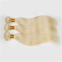extensiones de cabello rubio blanco al por mayor-Rubia europea # 613 100% sin procesar Remy armadura del pelo humano blanco Rubio Recto 4 paquetes Pelo virgen coser en extensiones de cabello Envío gratis
