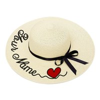 Wholesale large summer beach hats for sale - Group buy Embroidery Personalized Custom Heart LOGO Your Name Women Sun Hat Large Brim Straw Hat Outdoor Beach Summer Cap Dropshipp