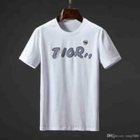 ingrosso fuori dal colletto-T-shirt moda per uomo Cotone Mens off Abbigliamento T-Shirt Collo tondo miliardario Uomo Top Estate manica corta nero Bianco maglietta con la lettera