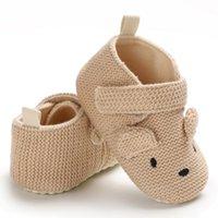 Wholesale baby blue knit fabric online - Newborn Toddler Baby Knit Cotton Cartoon Shoes Newborn Boy Girl Cartoon First Walkers Shoes M