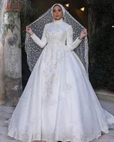 Wholesale wedding dress classic model resale online - Classic Lace Muslim Wedding Dresses Long Sleeve High Neck Appliqued Long Sleeves Lace Bridal Gowns A Line Sweep Train Vestido De Novia