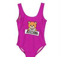 mädchen bikini muster großhandel-Neue heiße Sommer-Kind-Bärn-Muster-Badebekleidungs-Baby-Bikini-Badebekleidungs-einteiliger Buchstabe-Badeanzug-Schwimmen trägt