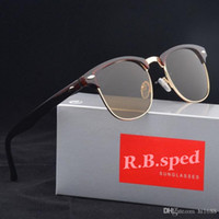 Wholesale glasses half frame cat eye online - Excellent Quality Glass Lens Fashion Sunglasses For Men Women brand design Semi Rimless Sun Glasses uv400 Eyewear With Brown Case and box