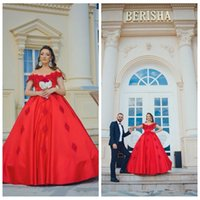 Wholesale sexy colored wedding dresses for sale - Group buy Off Shoulder Short Sleeves Red Wedding Dresses Lace Appliques Lace Up Back Bridal Gowns Formal Dubai Luxurious Colored Robe De Mariee