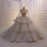Wholesale wedding dress fur collar for sale - Group buy Real Pictures High Neck Ball Gown Wedding Dresses With Poet Long Sleeves Luxury Crystal Beaded Saudi Arabian Dubai Bridal Gown Plus Size