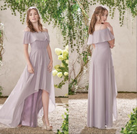 Wholesale womens brown pink bridesmaid dresses for sale - Group buy 2019 New Fashion Spaghetti Strap Hi Low Bridesmaid Dresses Long Chiffon A Line Pleats Zipper Back Cheap Spring Womens Party Dresses