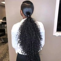 Wholesale curly ponytail human hair for sale - Group buy New Arrival Brazilian Human Virgin Remy Ponytails Kinky Curly Ponytail Hair Extensions Clip Ins Natral Black Color g one bundle