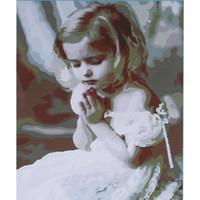 pinturas de niñas al por mayor-Sin marco diy pintura al óleo digital 16 * 20 '' niña pintada a mano pintura de la lona de algodón por número kit oficina en casa arte de la pared pinturas decoración