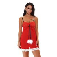 kırmızı babydoll xxl toptan satış-Kadınlar Şenlikli Kırmızı Dantel Fincan Örgü Noel Tatili Babydoll Ayarlanabilir Askı Beyaz Dantel Etek ve Eşleşen Külot ile Chemise Lingerie S-XXL