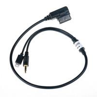 iphone arayüzü toptan satış-Araba Oto 3.5mm AUX Ses Adaptörü Kablosu MDI AMI MMI Erkek Arabirimi Audi VW IPhone IPod için Şarj Ses Adaptörü Bağlayın