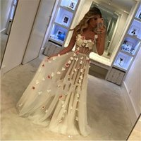 Wholesale spaghetti hand skirt resale online - New Arrival Sexy Custom Made A line Long Evening Dresses Spaghetti Illusion Tulle Tiered Skirts Hand Made Flowers Sweep Train Prom gown