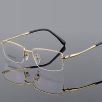 5d8f3db0b1e 100% Pure Titanium Half Rim Brand Eyeglasses Men Optical Spectacle Frame  Eye Prescription Glasses Big Face Eyeglasses Quality