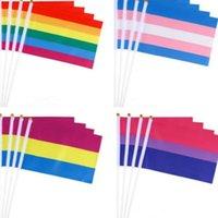 ingrosso sfilate-Bandiera arcobaleno 14x21cm sfilata di bandiera a strisce di colore gay di piccole dimensioni per celebrare la festa Decorazione Bandiere Bandiere Banner T2I5200