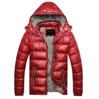 yastıklı rüzgarlık toptan satış-Adam Aşağı Ceket Kapüşonlu Ceket Erkekler Parka Kapitone Yastıklı Wadded Rüzgarlık Erkek Erkek Ceket Ve Ceket Parkas Palto M220