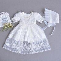 ingrosso abito bianco ricamato bambino-3 pezzi per set Baby Girl battesimo vestito bianco infantile ragazza battesimo abito pizzo ricamato cappello del capo 0-24 mesi