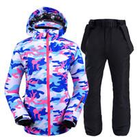 rote tarnkleidung großhandel-Rot blau camouflage frauen schneeanzug snowboarden kleidung winter outdoor sports wasserdicht winddicht ski jacke + gürtel schneehose
