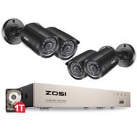 ingrosso sistema di sorveglianza di sicurezza 8ch-ZOSI 8CH CCTV System 4PCS 1280TVL Telecamera di sicurezza esterna resistente agli agenti atmosferici 8CH 720P DVR Day / Night Kit fai da te Sistema di videosorveglianza