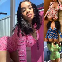 Wholesale gold s hook resale online - 15 colors Designer Women Pajama Onesies Nightwear Playsuit Workout Button Skinny Hot Print Jumpsuits V neck Short Onesies Rompers DHL