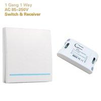 interruptor remoto sem fio ac venda por atacado-Wireless Switch Controle Remoto Smart Home Control Panel 1 Gang 1 Way Receptor de controle pode ser montado na parede AC 85V-220V global Universal