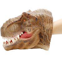 dinosaurierpuppen großhandel-Tyrannosaurus Dinosaurier Kopf Handpuppe Für Geschichten Handpuppe Weiche ungiftige Figur Spielzeug Für Kinder Realistische Dino Modell Geschenk