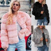 degrade kış ceket toptan satış-Bayanlar Sıcak Faux Kürk Bayan Ceket Katı Kış Degrade Parka Kabanlar faux fur jile ceket