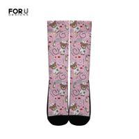 bayanlar mürettebat çorap toptan satış-Toptan Çorap Kadınlar Sevimli Pembe Karikatür Hemşire Ayı Desen Moda kadın Bayanlar için Uzun Elbise Çorap Casual Ekip Çorap 2019