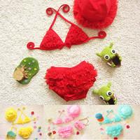 Wholesale girls wearing hats online - 5 Colors Summer Kids Swimwear Bathing Suit Set Swimsuit Beach Wear Baby Girls Lace Bowknot Strap Bikini with Hat Years G528F
