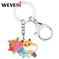 Wholesale squirrel bag resale online - WEVENI Acrylic Valentine s Day Squirrel Rose Bouquet Key Chain Ring Bag Car Purse Decoration Keychain For Women Girl Lovers Gift