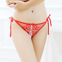 interessante hose großhandel-Sex Dessous Interessante Unterwäsche Ladies'Crotch Stickerei Attraktion Perspektive der T-förmigen Unterwäsche Ladies 'Low Waist Sexy Hip T-Pants