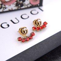 Wholesale red flower earings for sale - Group buy Fashion designer jewelry women earrings red white rhinestones designer beaded earings for wedding hanging designer earrings high quality