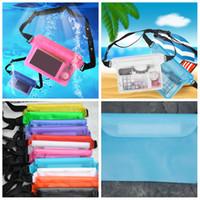 su geçirmez kuru paketler toptan satış-Su geçirmez bel çantası telefon Yüzme Çanta Kayak Drift Dalış Sualtı Kuru Omuz Bel Paketi Çantası Kamera mühür Cep kese FFA1822-1 12styles