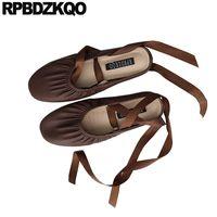 tamanhos japoneses da sapata venda por atacado-Senhoras rodada toe tamanho vinho tinto elástico 35 soft ballet flats mulheres 2019 sapatos chinelos sandálias bailarina preto mulas japonesas