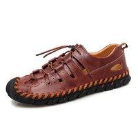 sandalet hakiki deri erkek yeni toptan satış-Marka Ayakkabı 2019 Yeni Erkek Deri Sandalet Moda Yaz Adam Sandalet Plaj Ayakkabı Hakiki Deri Açık Erkekler Oymak