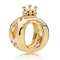 diy prenses bilezikler toptan satış-2019 925 ayar gümüş plata esterlina pandora takılar encantos Prenses Kübik Zirkonya DIY Lady Bilezikler Için Sevimli Taç Boncuk Sevgililer