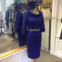 ingrosso abito da sposa blu royal per la sposa-2019 Royal Blue madre della sposa abiti in raso di perline cintura di cristallo tè lunghezza abito da sposa ospite abiti da sera abito da ballo di promenade