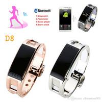 Wholesale led bluetooth bracelets for sale – best Smart Wristbands New Fashion metal D8 Smart bracelet gold sliver Sync Wrist LED Digital Bluetooth answer phone For Iphone plus Samsung S7