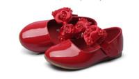 vestido de casamento vermelho arco branco venda por atacado-Branco vermelho crianças lace bow shoes criança flor crianças meninas vestido de festa de casamento princesa sapatos de couro adolescentes meninas dança
