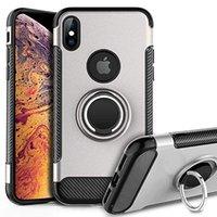 rüstung dual-layer-abdeckung großhandel-Telefon Fall Heavy Duty stoßfest Dual Layer Rugged Armor Fällen Cover Ring Halter für neue iPhone 11 XS MAX XR X 7/8