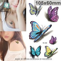 Wholesale sexy small tattoos resale online - Temporary Tattoos D Butterfly Body Art Waterproof Temporary Tattoos For Men women Sexy Colours Small Sticker RC2206