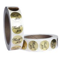 ingrosso adesivo rotondo di tenuta del regalo-1 pollice in oro grazie adesivo adesivo rotolo pacchetto 1000 pz regalo rotondo pacchetto sigillo etichetta nuovo imballaggio etichetta festa di nozze tag adesivo