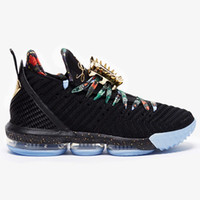 kc gold großhandel-Neue lebron 16 Uhr The Throne Herren Basketball-Schuhe Schwarz Metallic Gold-Rose Frost James 16 KC Gold Lacelocks Mens Athletic Sports Trainer