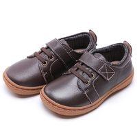 zapatos marrones niños niñas cuero al por mayor-Niños de cuero genuino Niños otoñales niños casuales zapatos niñas zapatos de cuero zapatillas de deporte zapatos café marrón